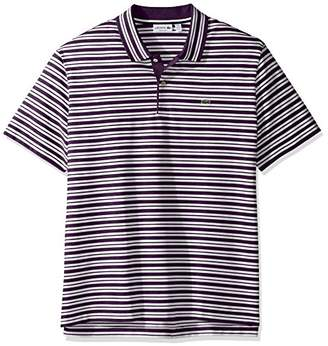 Lacoste Men's Short Sleeve Pique with Stripe Rib Collar Polo