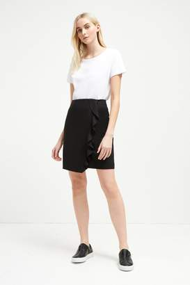 French Connenction Sundae Suiting Frill Pencil Skirt