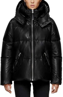 Mackage Miley Leather Puffer Coat w/ Detachable Hood