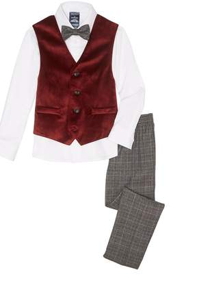 Nautica Holiday Velvet Vest 4-Piece Suit (Toddler & Little Boys)