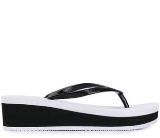 Armani Exchange wedge flip flops