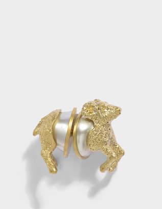 Carven Sheep Mono Earring in Ivory Brass