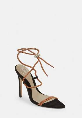 Missguided Orange Rope Pointed Toe Heeled Sandals