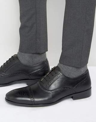 Red Tape Brogues In Black Leather