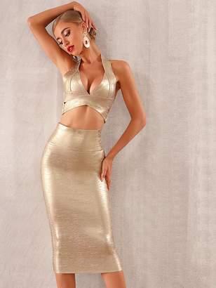 Shein Adyce Backless Metallic Halter Top & Pencil Skirt Set