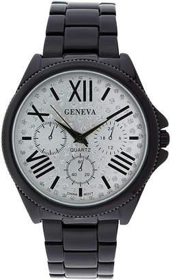 GENEVA Geneva Womens Crystal-Accent Silver-Tone Dial Multifunction-Look Bracelet Watch