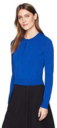Lark & Ro Women's Crewneck Cropped Cardigan Sweater