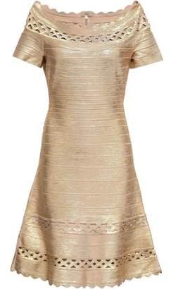 3e410050ded Herve Leger Katherina Off-the-shoulder Metallic Coated Bandage Dress
