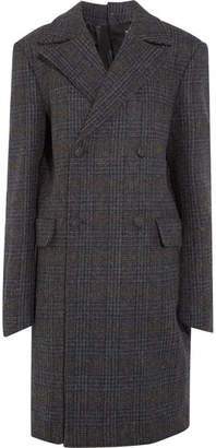 Oversized Double-breasted Checked Wool Coat - Charcoal