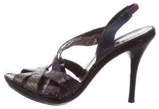 Stuart Weitzman Snakeskin Slingback Sandals