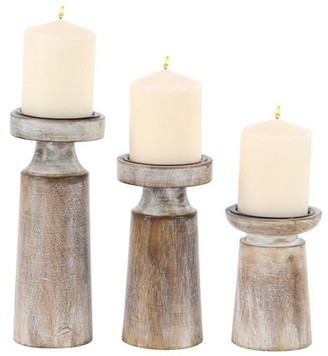 DecMode Decmode Set of 3 Mango Wood and Iron Pedestal Candle Holders, Brown