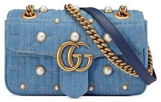 Gucci GG Marmont 2.0 Imitation Pearl Embellished Denim Crossbody Bag