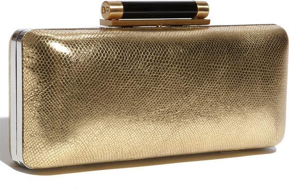 Diane von Furstenberg 'Tonda' Metallic Leather Clutch