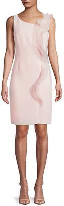 Karl Lagerfeld Paris Women's Mesh Ruffle Knee-Length Dress