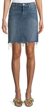 Mother Tomcat Straight Denim Mini Skirt w/ Fray Hem