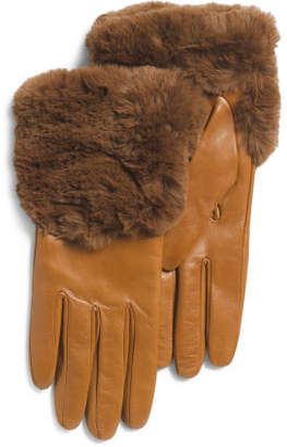 Made In Italy Leather Faux Fur Gloves