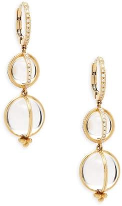 Temple St. Clair Women's Crystal, Diamond and 18K Gold Double Drop Earrings