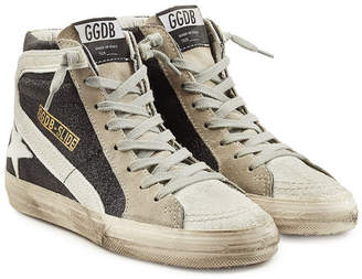 Golden Goose Slide High-Top Sneakers with Suede and Leather
