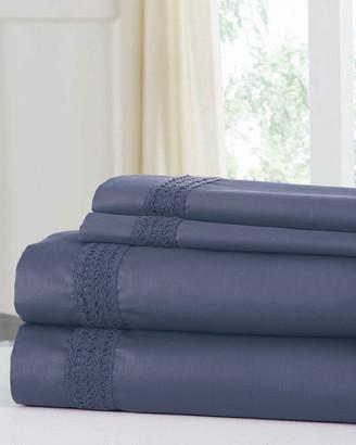 Colonial Home 600 Thread Count Cotton Rich Avenue Lace Hem 4Pc Sheet Set