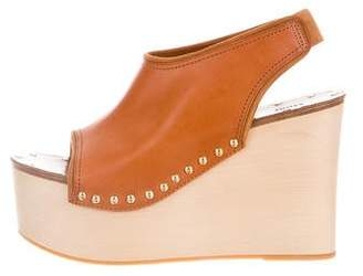 Celine Leather Stud-Embellished Wedges
