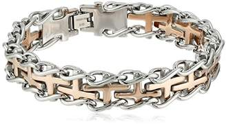 Men's Two-Tone Stainless Steel Railroad Bracelet