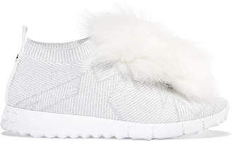 Jimmy Choo Norway Pompom-embellished Metallic Stretch-knit Sneakers - White