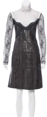 Nina Ricci Lace-Accented Eel Skin Dress w/ Tags