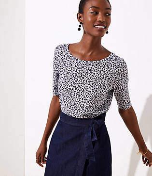 LOFT Petite Leopard Print Vintage Soft Shirttail Tee
