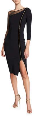 Chiara Boni 3/4-Sleeve Asymmetric Zip-Front Cocktail Dress w/ Mesh Inset