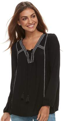 Sonoma Goods For Life Petite SONOMA Goods for Life Lace-Up Gauze Peasant Top