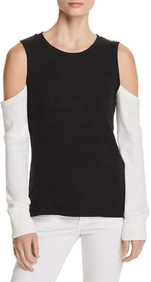 LnA Aya Cold-Shoulder Color-Block Sweater