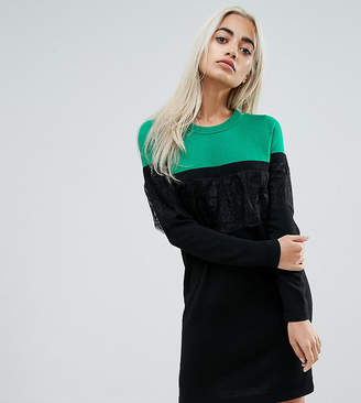 Asos Knitted Mini Dress in Color Block with Lace
