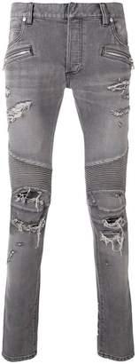 Balmain skinny distressed biker jeans