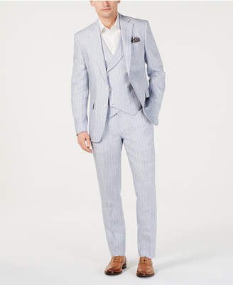 Tallia Men Slim-Fit Linen Light Gray Vested Suit