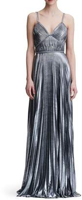 Marchesa Pleated Lame A-Line Gown