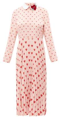 RED Valentino Heart Print Pleated Crepe Midi Dress - Womens - Pink Multi