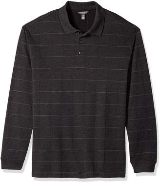 Van Heusen Men's Big Long Sleeve Jaspe Windowpane Polo