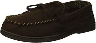 Dearfoams Men's Microsuede Moccasin with Tie in Wide Width Slipper
