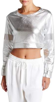 Norma Kamali Metallic Cropped Sweatshirt