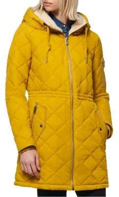 Andrew Marc Faux Fur-Lined Quilted Anorak