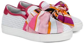 Emilio Pucci Junior bow detail slip-on trainers