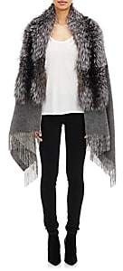 Barneys New York Women's Fox Fur-Collar Cape - Gray