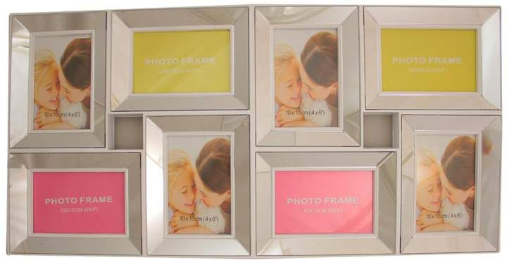 White Trimmed Glass 8 Photo Collage Frame