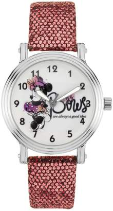 """Disney Disney's Minnie Mouse """"Bows are Always a Good Idea"""" Women's Leather Watch"""