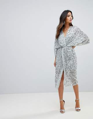 fd1c06917321 Asos Design DESIGN scatter sequin knot front kimono midi dress