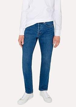 Paul Smith Men's Standard-Fit 12.5oz 'Rigid Western Twill' Mid-Wash Jeans