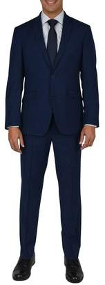 Kenneth Cole Reaction Nested Navy Solid Two Button Notch Lapel Slim Fit Suit