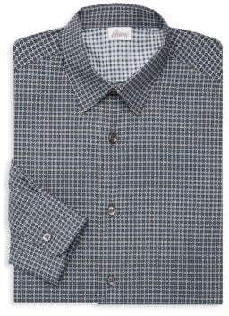 Brioni Diamond-Print Cotton Dress Shirt