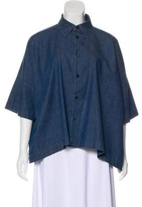 eskandar Chambray Short Sleeve Top
