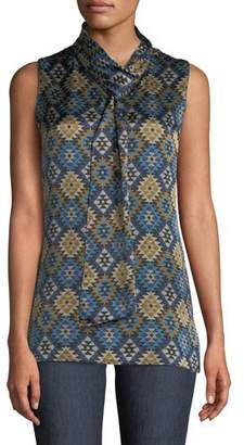 Lafayette 148 New York Abbie Aztec Artistry Silk Blouse w/ Self-Tie Neck